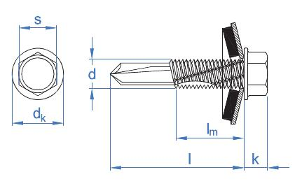 DIN-7504-K autotaladrante de Cabeza Hexagonal Estampada. Tornillo con arandela ARVUL 4,8 x 19 P14 INDEX Fixing Systems ABE144819 4,8 x 19 mm Set de 1000 Piezas